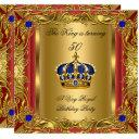 prince or king red gold royal blue crown birthday invitation
