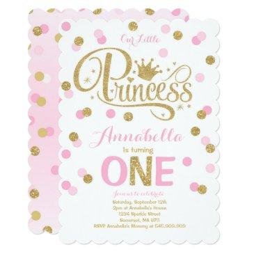 Princess 1st Birthday Invitation Pink Gold Invite