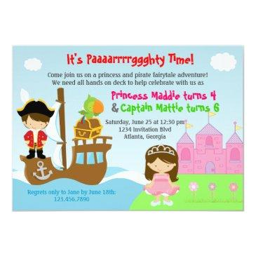 Small Princess And Pirate Twins Joint Birthday Party Invitations Front View
