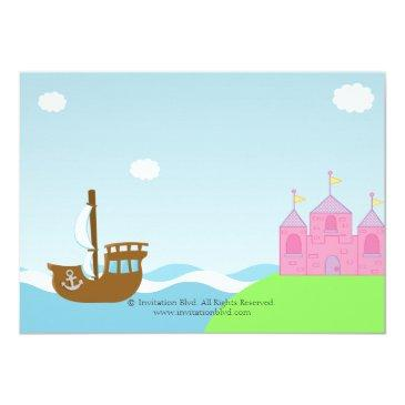 Small Princess And Pirate Twins Joint Birthday Party Invitations Back View