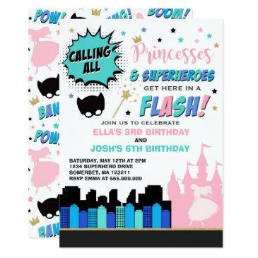 princess and superhero birthday invitations