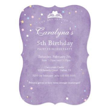 princess birthday invitation purple fairy dust