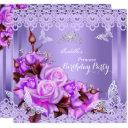 princess butterfly purple pink rose birthday party invitation