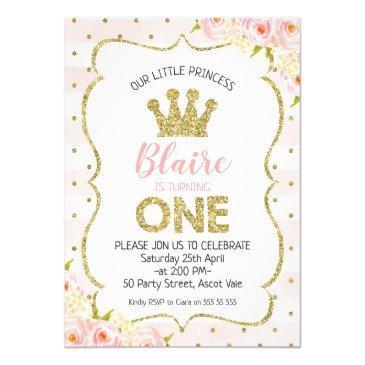 princess crown 1st birthday invitations