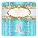 princess party teal gold white pearl high heels invitation