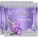 princess purple pearls rose high heel birthday invitation