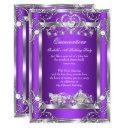 princess quinceanera 15th party purple silver invitation