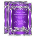 princess quinceanera 15th party purple silver invitations