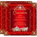 princess quinceanera elite regal red gold sparkle invitation