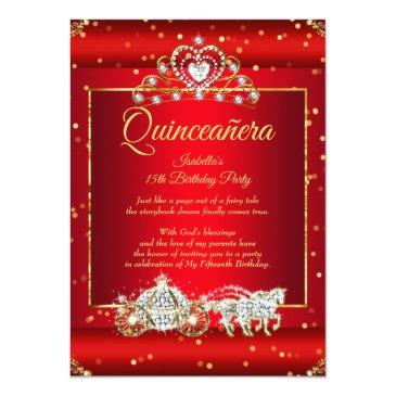 Small Princess Quinceanera Elite Regal Red Gold Sparkle Invitation Front View