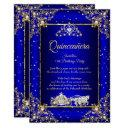 princess quinceanera elite royal blue gold sparkle invitation