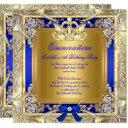 princess quinceanera gold royal blue silver party invitations
