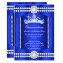 princess quinceanera royal blue diamond tiara invitations