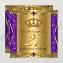 princess regal purple gold 21st birthday party invitation