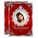 princess tiara red silver sparkle quinceanera invitations