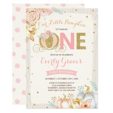 pumpkin 1st birthday invitations rustic pink gold