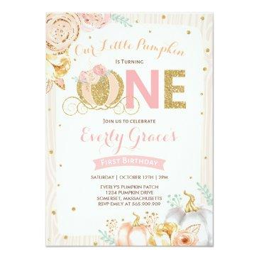 Small Pumpkin 1st Birthday Invitation Rustic Pink Gold Front View