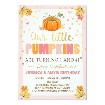 pumpkin birthday invitation pink twin joint dual