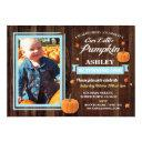 pumpkin birthday one photo blue fall 1st invite
