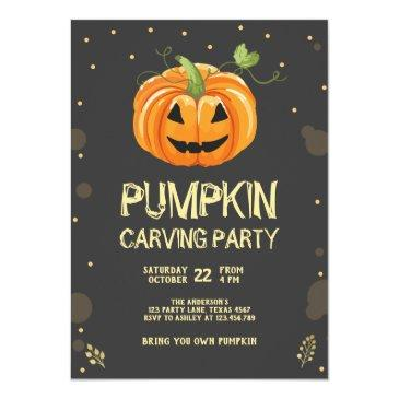 Personalised Halloween Party Invitations x 12 envs Glowing Pumpkin H1912
