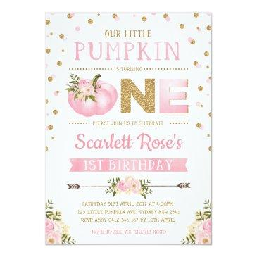 Small Pumpkin First 1st Birthday Invitation Pink & Gold Front View