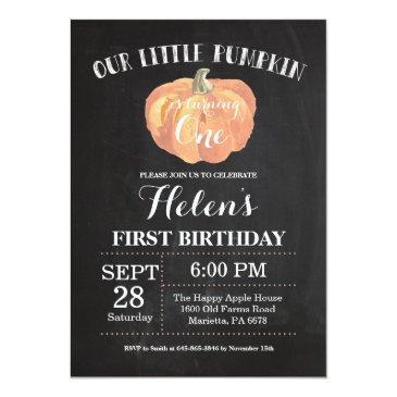 pumpkin first birthday invitation chalkboard
