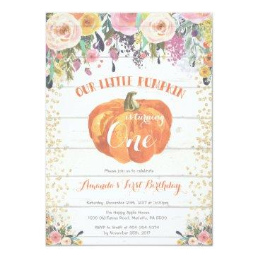 pumpkin first birthday invitation floral gold