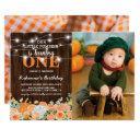 pumpkin first birthday | rustic fall photo invitation