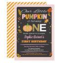 pumpkin girl first birthday party chalkboard invitation