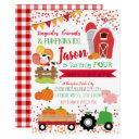 pumpkin patch farmer boys red gingham birthday invitation