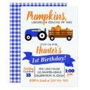 pumpkin truck birthday invitations - blue tractor