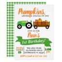 pumpkin truck birthday invitation - green tractor