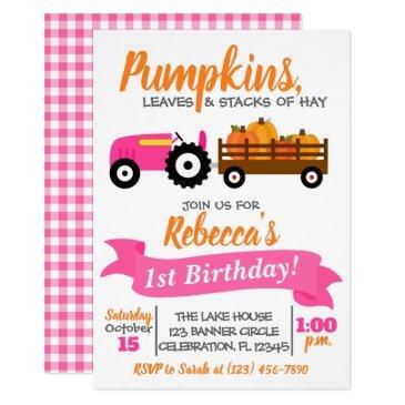 pumpkin truck birthday invitation - pink tractor