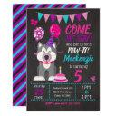 puppy birthday invitations girl paw-ty husky