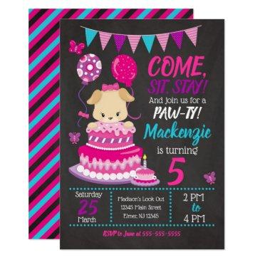 puppy birthday invitations girl paw-ty party