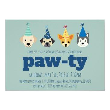 puppy birthday party invitations, dog party invite