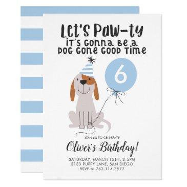 puppy dog birthday party blue invitations