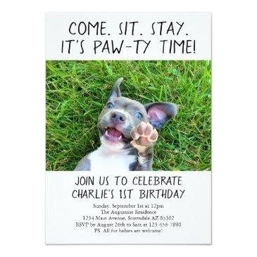 Small Puppy Dog Birthday Party Photo Invitations Front View