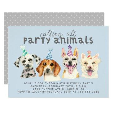 puppy dog party animals birthday invitation