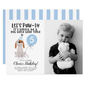 puppy dog theme birthday party blue photo invitation