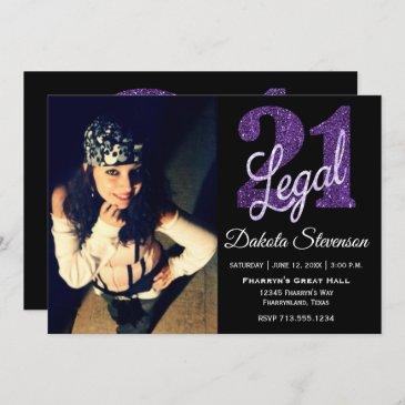 purple 21 and legal | chic photo 21st birthday invitation