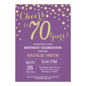 Small Purple And Gold 70th Birthday Diamond Invitation Front View