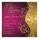 purple and gold 80th birthday party invitations