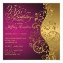 purple and gold 95th birthday party invitations