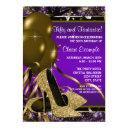 purple and gold high heels womans birthday party invitation