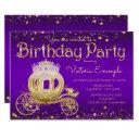 purple and gold princess birthday party invitation