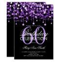 purple any age birthday string lights & stars invitations