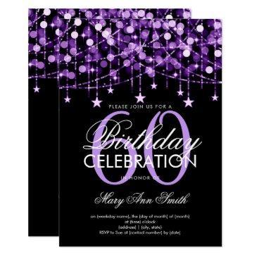 purple any age birthday string lights & stars invitation