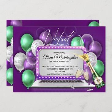 purple balloons laptop virtual birthday party invitation