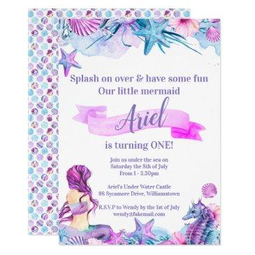 purple, blue and pink mermaid birthday invitation